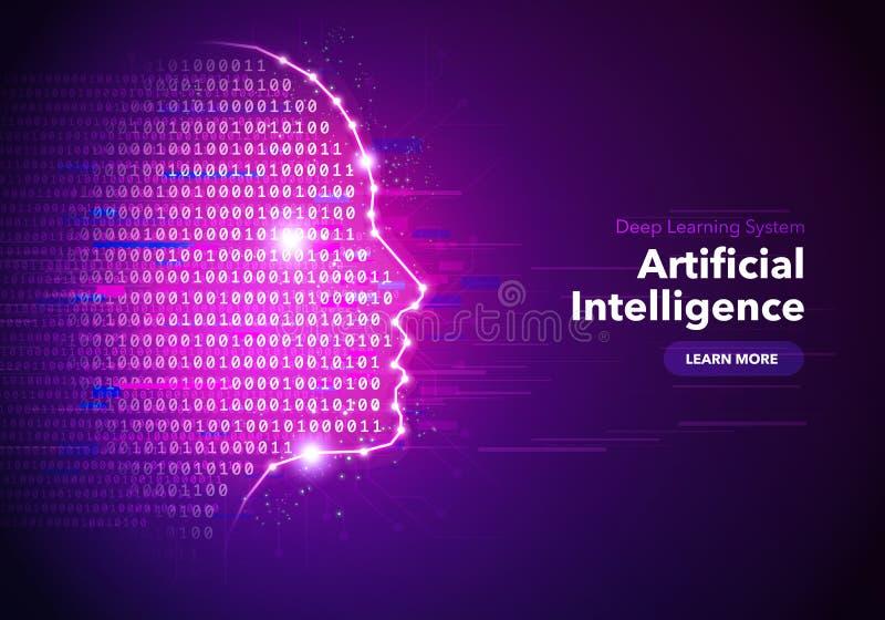 För begreppsbaner för konstgjord intelligens design med illustrationen av den mänskliga framsidan royaltyfri illustrationer