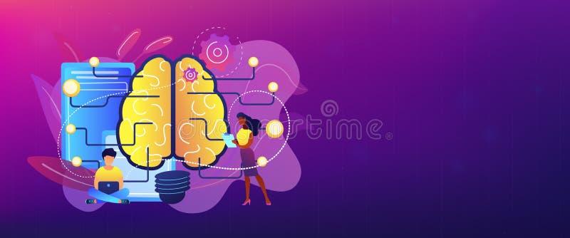 För begreppsbaner för konstgjord intelligens titelrad royaltyfri illustrationer