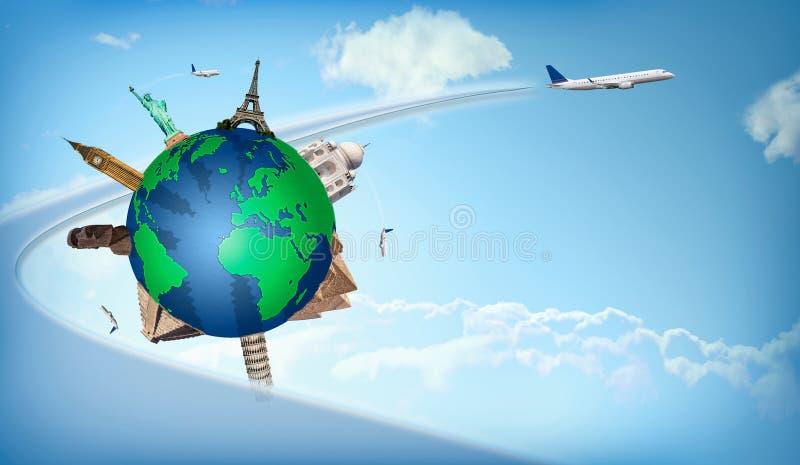 För begreppsflygplan för lopp runt om världen illustration stock illustrationer