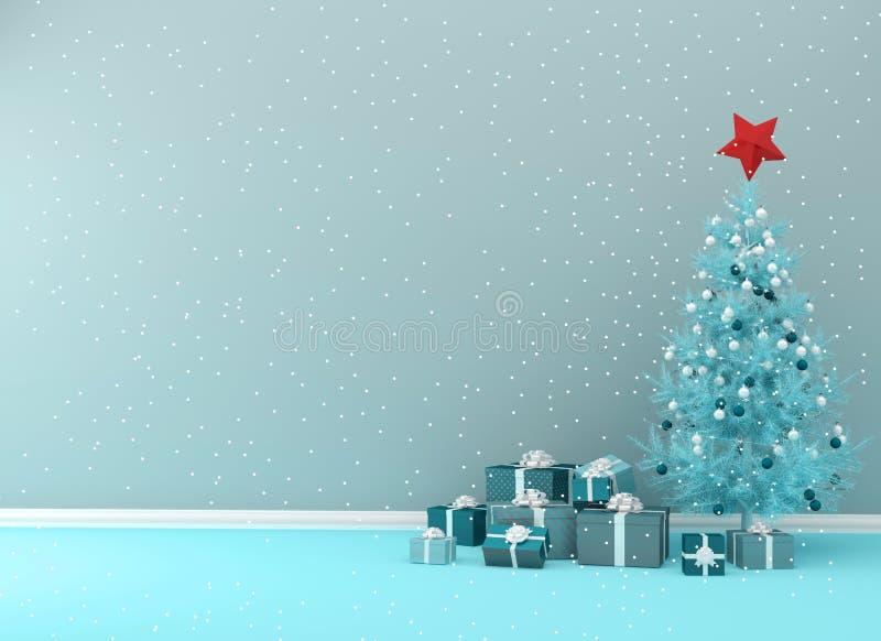 För begreppsinre för jul och för nytt år blått hyr rum bakgrund Wi stock illustrationer