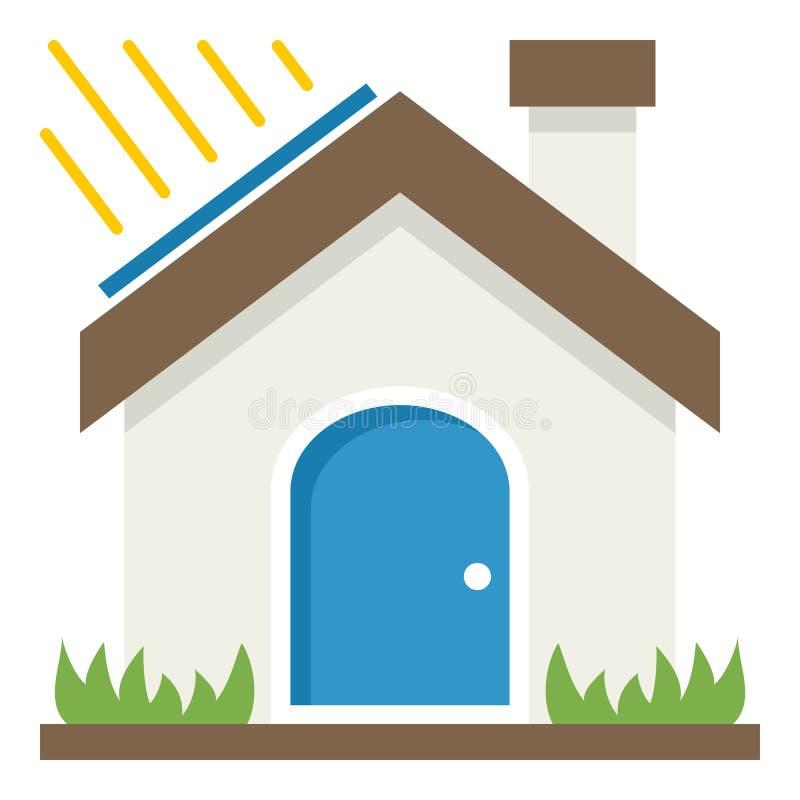 För begreppslägenhet för grönt hus symbol på vit royaltyfri illustrationer