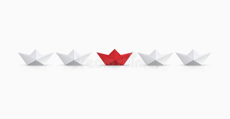 För begreppsledarskap för vektor modern bakgrund Rött och vitt origamifartyg stock illustrationer