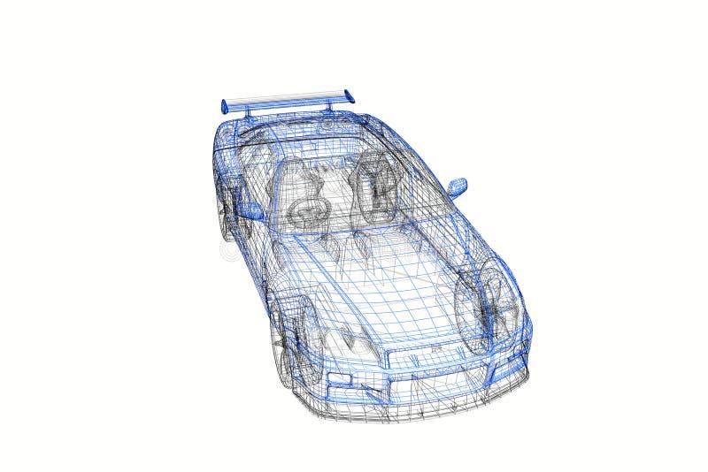 för begreppsmodell för bil 3d modernt projekt stock illustrationer