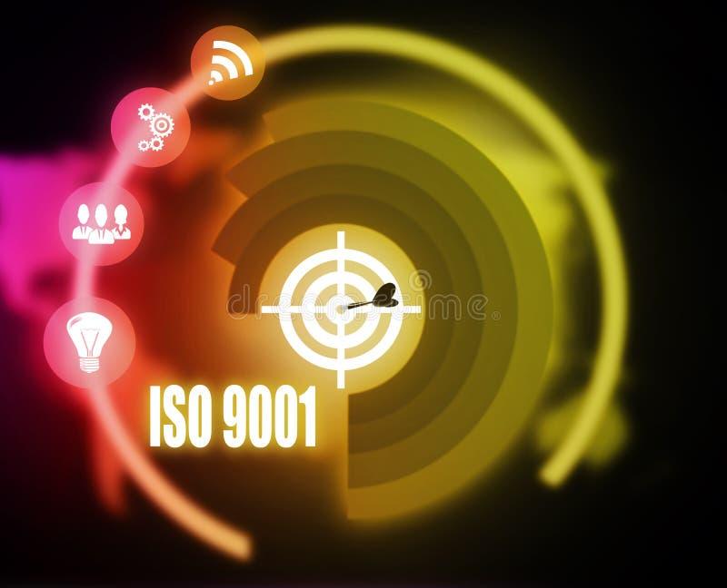 För begreppsplan för Iso 9001 diagram stock illustrationer