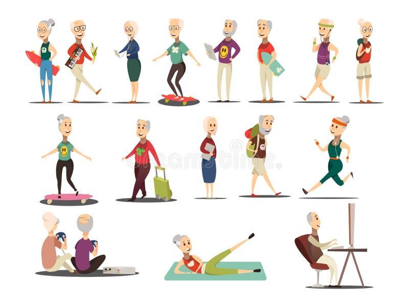 För begreppssymboler för äldre folk uppsättning stock illustrationer