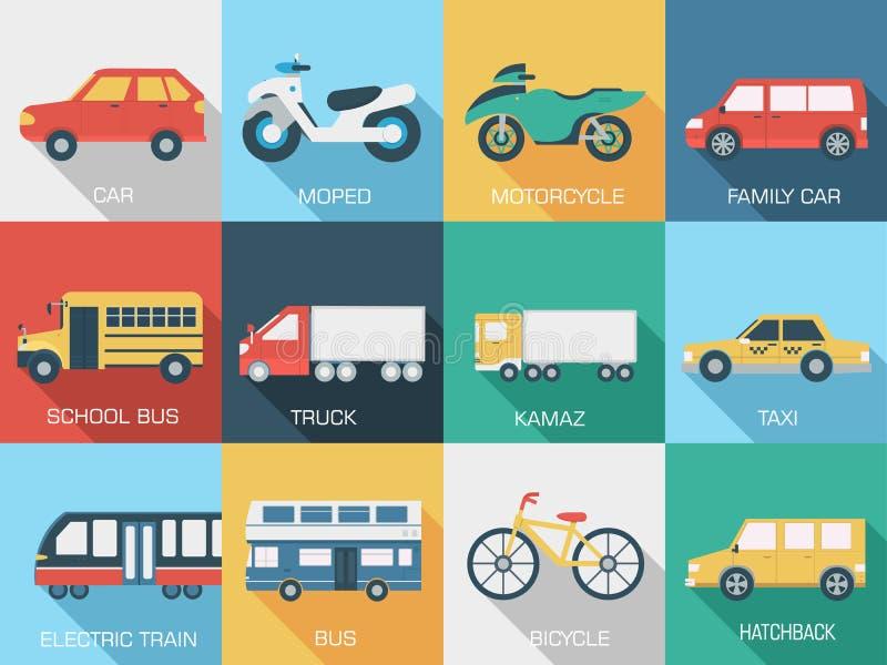 För begreppsuppsättning för plana bilar bakgrunder för symbol vektor illustrationer