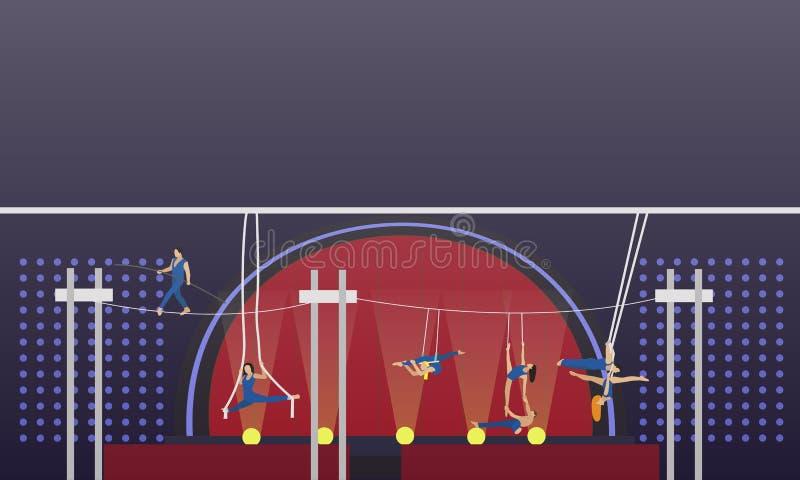 För begreppsvektor för cirkus inre baner Akrobater och konstnärer utför show i arena royaltyfri illustrationer