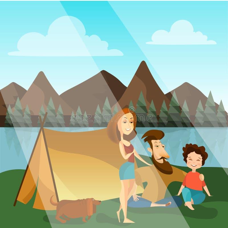 För begreppsvektor för familj campa illustration royaltyfri illustrationer