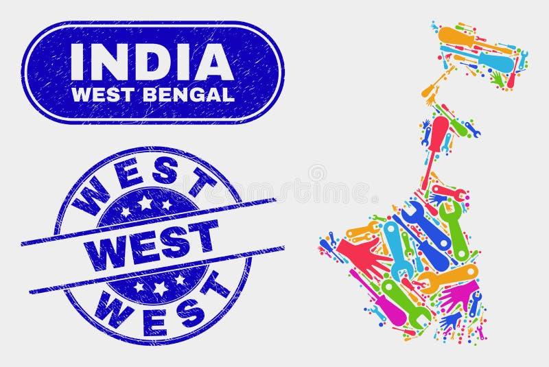 För Bengal för enhet västra översikt stat och västra vattenstämplar för Grunge stock illustrationer