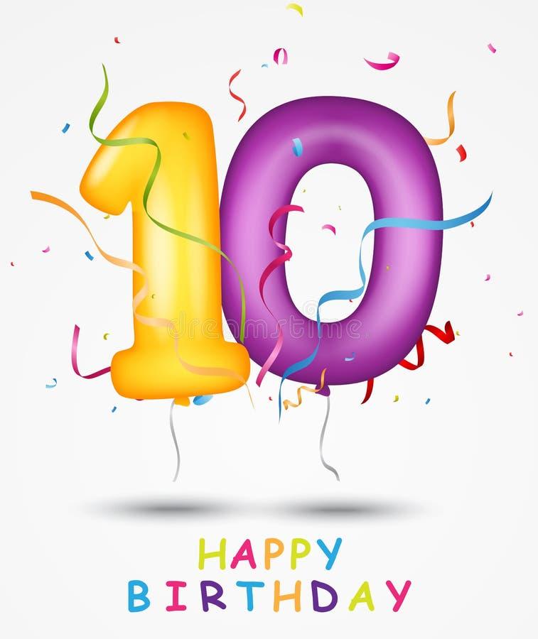 För berömhälsning för lycklig födelsedag kort med nummer och text vektor illustrationer