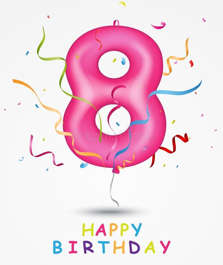 För berömhälsning för lycklig födelsedag kort med nummer och text royaltyfri illustrationer