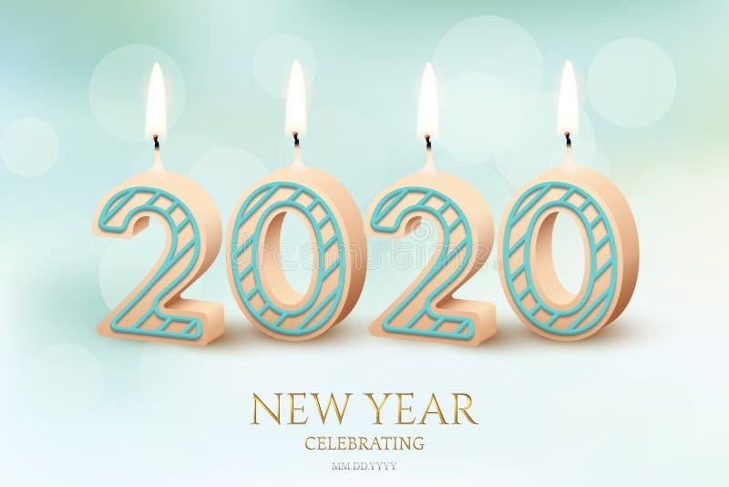 För berömhorisontaldesign för nytt år 2020 begrepp Brinnande stearinljus för vektor 2020 och berömtext för nytt år på vektor illustrationer