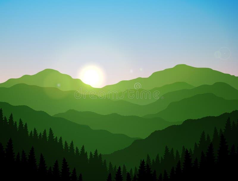 För berg- och kullevektor för soluppgång grön konst royaltyfri illustrationer