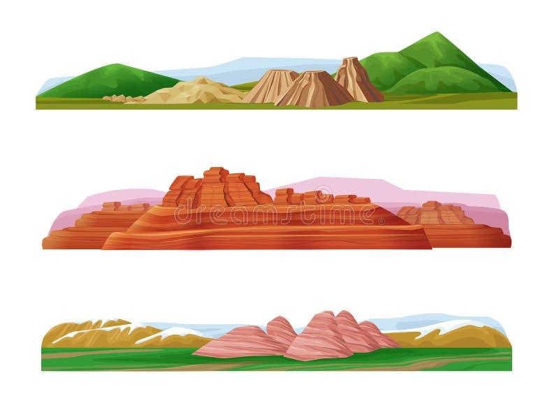 För berglandskap för tecknad film färgrik uppsättning royaltyfri illustrationer