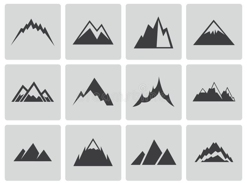För bergsymboler för vektor svart uppsättning stock illustrationer