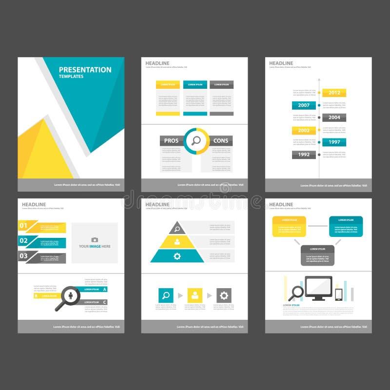 För beståndsdel- och symbolspresentation för gul blå polygon sänker infographic mallar designuppsättningen för website för brosch stock illustrationer