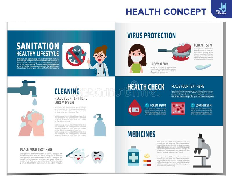 F?r best?ndsdeldesign f?r v?rd- medicinsk vektor infographic illustration royaltyfri illustrationer