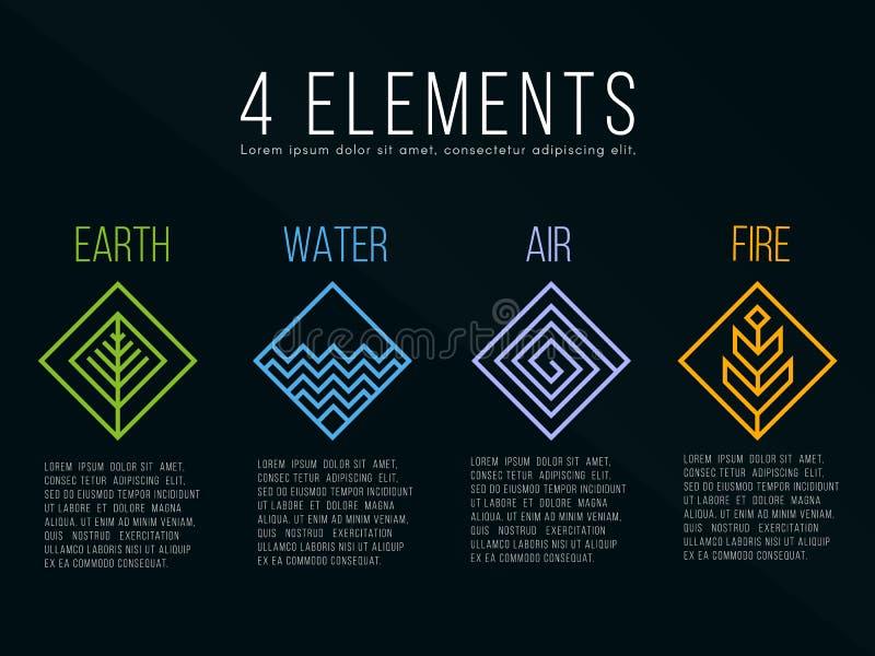 För beståndsdeldiamant för natur 4 tecken för logo för fyrkant Vatten brand, jord, luft På mörk bakgrund vektor illustrationer