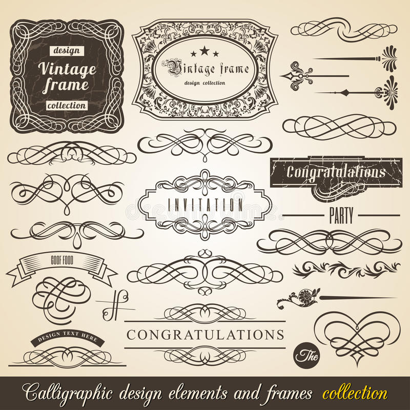 För beståndsdelgräns för vektor Calligraphic ram för hörn och inbjudansamling Typografiska beståndsdelar för garnering, tappninge stock illustrationer