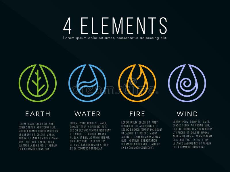 För beståndsdellogo för natur 4 tecken Vatten brand, jord, luft På mörk bakgrund royaltyfri illustrationer