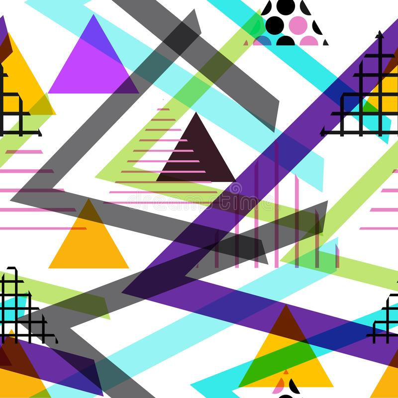 För beståndsdelMemphis Postmodern Retro för sömlös modell geometrisk stil 80-90s mode apelsin för svart för texturformtriangel bl royaltyfri illustrationer