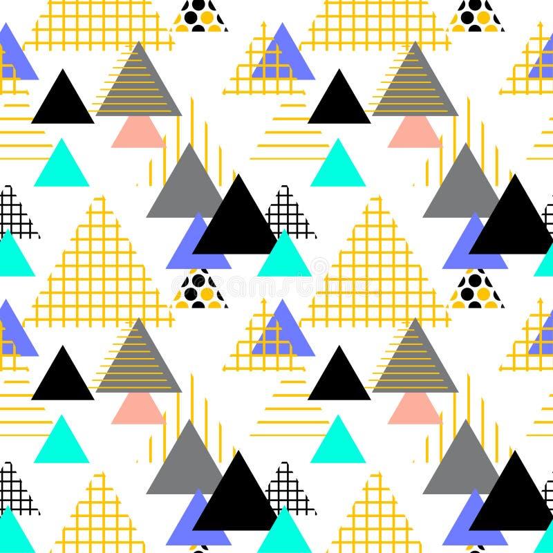 För beståndsdelMemphis Postmodern Retro för sömlös modell geometrisk stil 80-90s mode gula gråa svarta blått för texturformtriang stock illustrationer