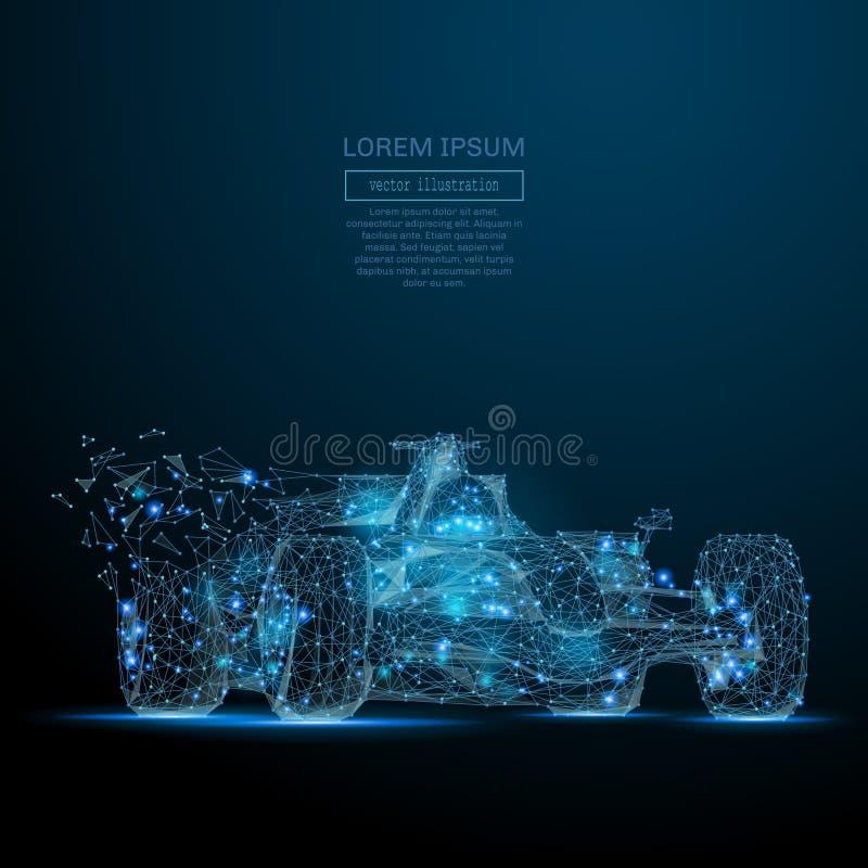 För BIL F1 poly blått lågt royaltyfri illustrationer