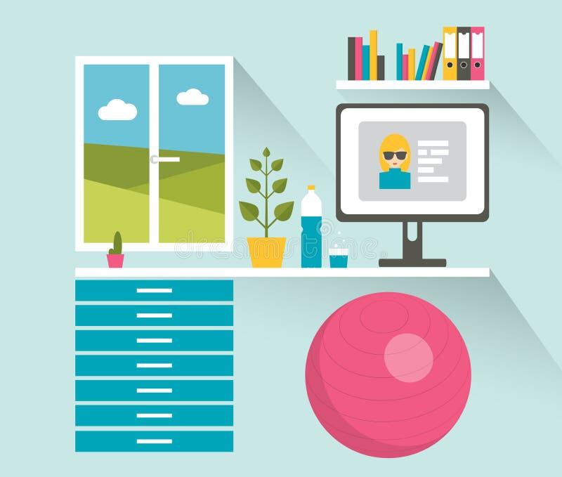för bildkontor för illustrationer 3d arbetsplats Sunt arbetsutrymme vektor illustrationer