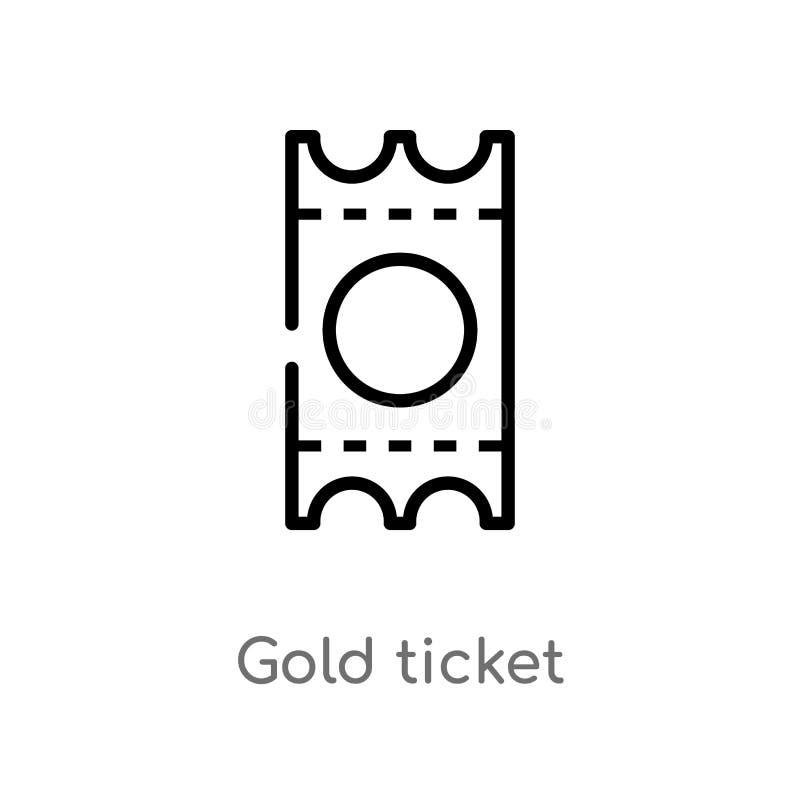för biljettvektor för översikt guld- symbol isolerad svart enkel linje beståndsdelillustration från underhållningbegrepp Redigerb stock illustrationer