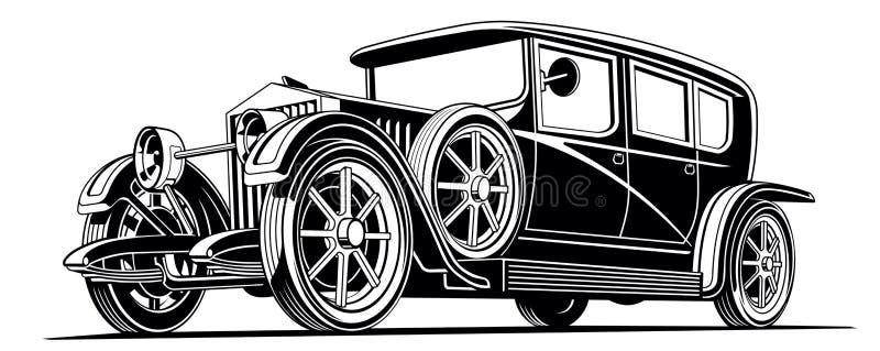 för billimousine för tappning svart klassisk illustration för vektor vektor illustrationer