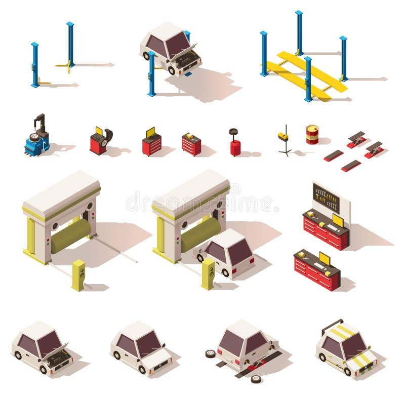 För bilservice för vektor isometrisk uppsättning för utrustning stock illustrationer
