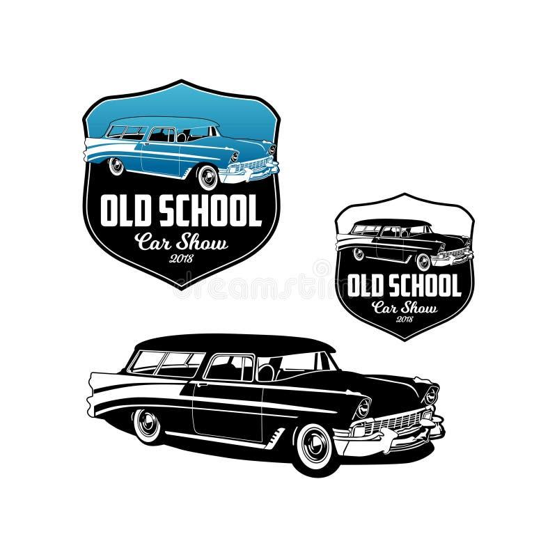 För bilshow för gammal skola vektor 2018 för logo royaltyfri illustrationer