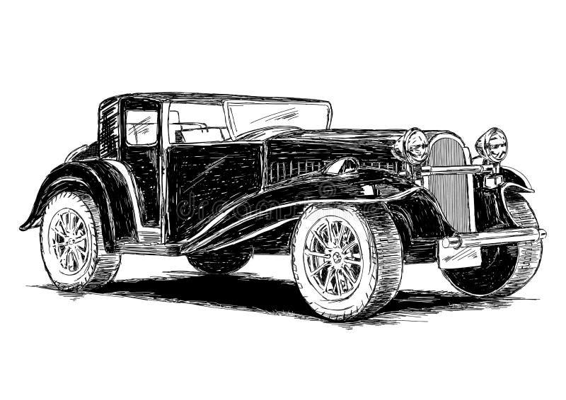 För bilvektor för tappning Retro klassisk gammal illustration stock illustrationer