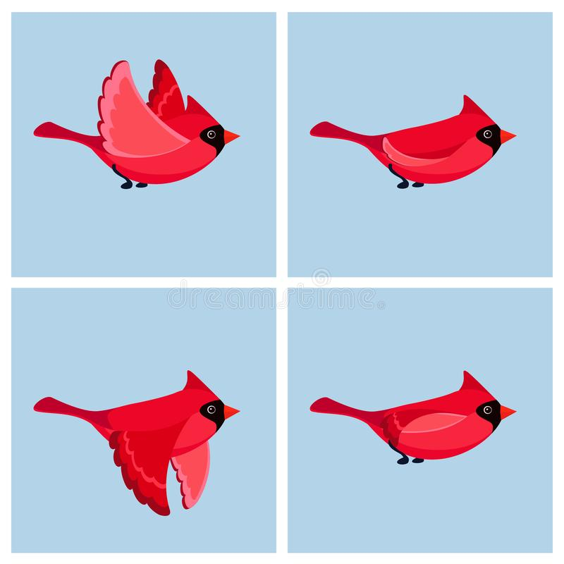 För Bird för tecknad filmflygkardinal ark för älva manligt animering stock illustrationer
