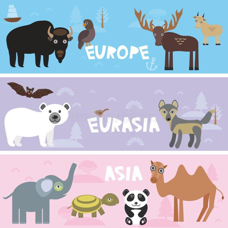 För bisonpanda för gulliga djur fastställd elefant för varg för hjortar för slagträ för sköldpadda för kamel för isbjörn för get, royaltyfri illustrationer