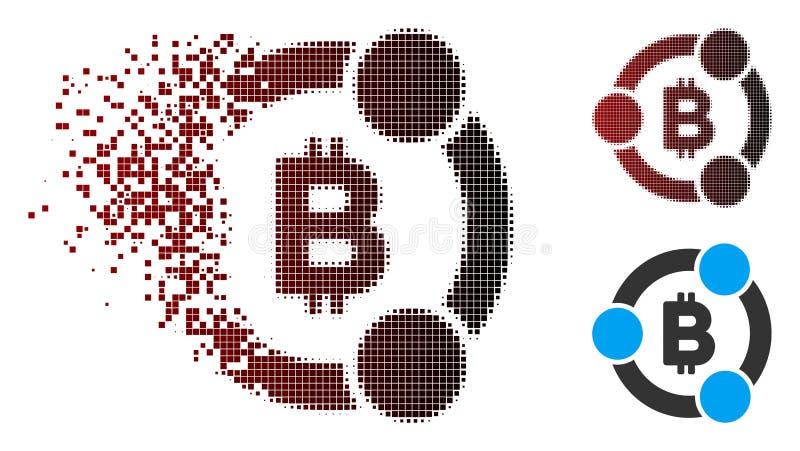 För Bitcoin för rörande PIXEL rastrerad symbol samarbete royaltyfri illustrationer