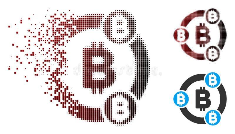 För Bitcoin för upplöst PIXEL rastrerad symbol samarbete vektor illustrationer