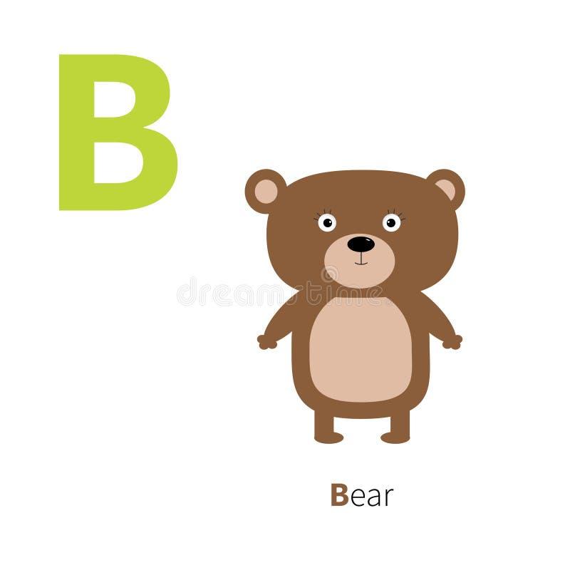 För björnzoo för bokstav B alfabet Engelska abc-bokstäver med djurutbildningskort för den vita bakgrundslägenheten för ungar plan stock illustrationer