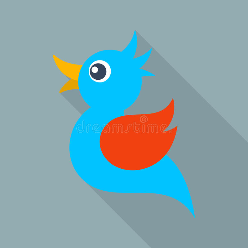 För blå lång skugga fågelsymbol för vektor stock illustrationer