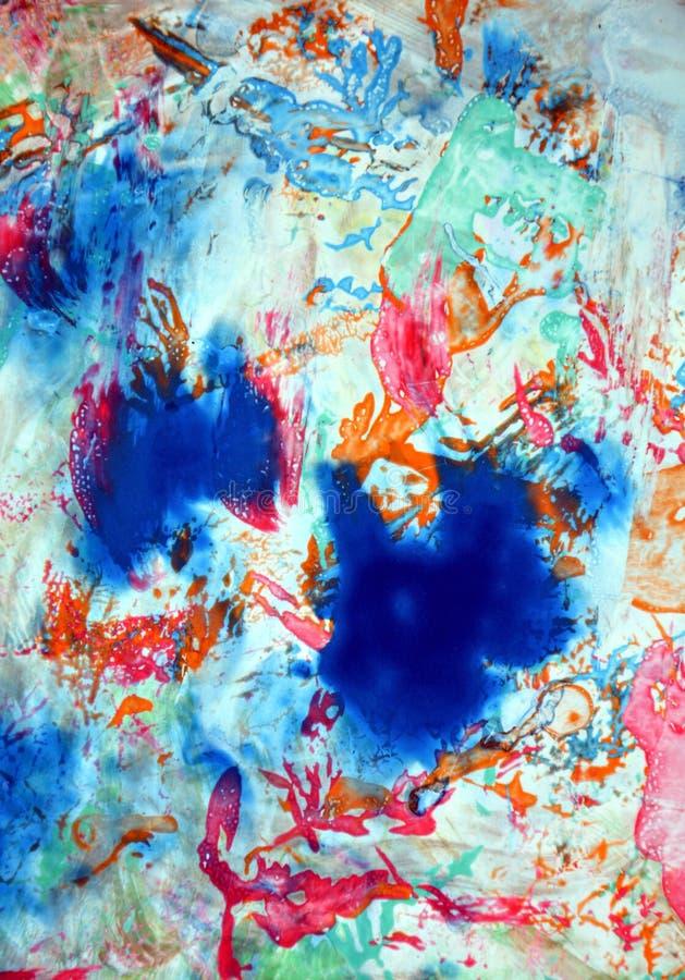 För blåa bakgrund för vattenfärg för målarfärg apelsingrå färger för rosa färger suddig, abstrakt begreppformer och geometrier royaltyfri fotografi