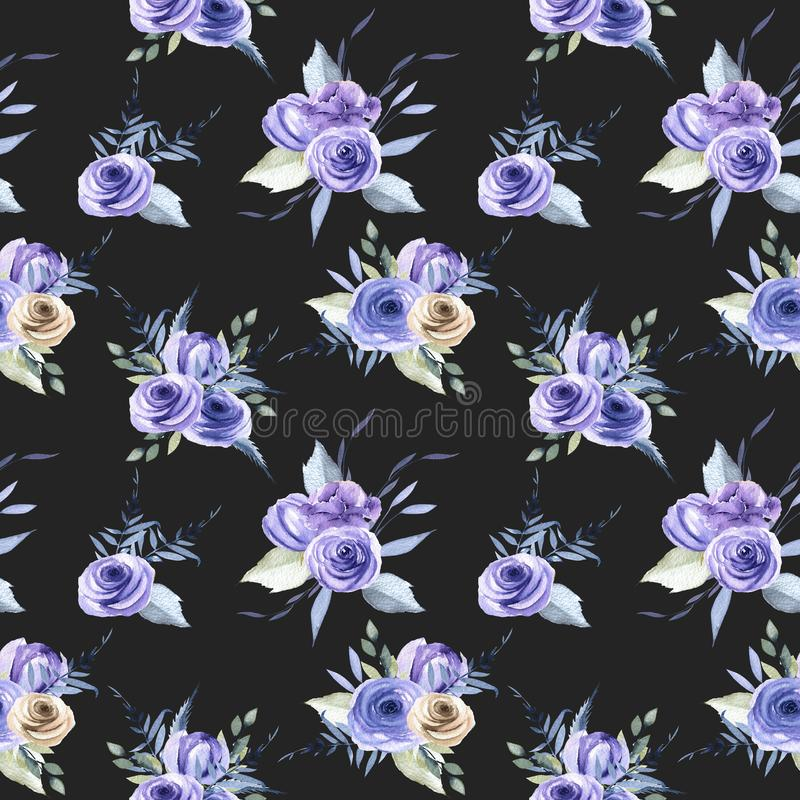För blåa sömlös modell rosbuketter för vattenfärg stock illustrationer