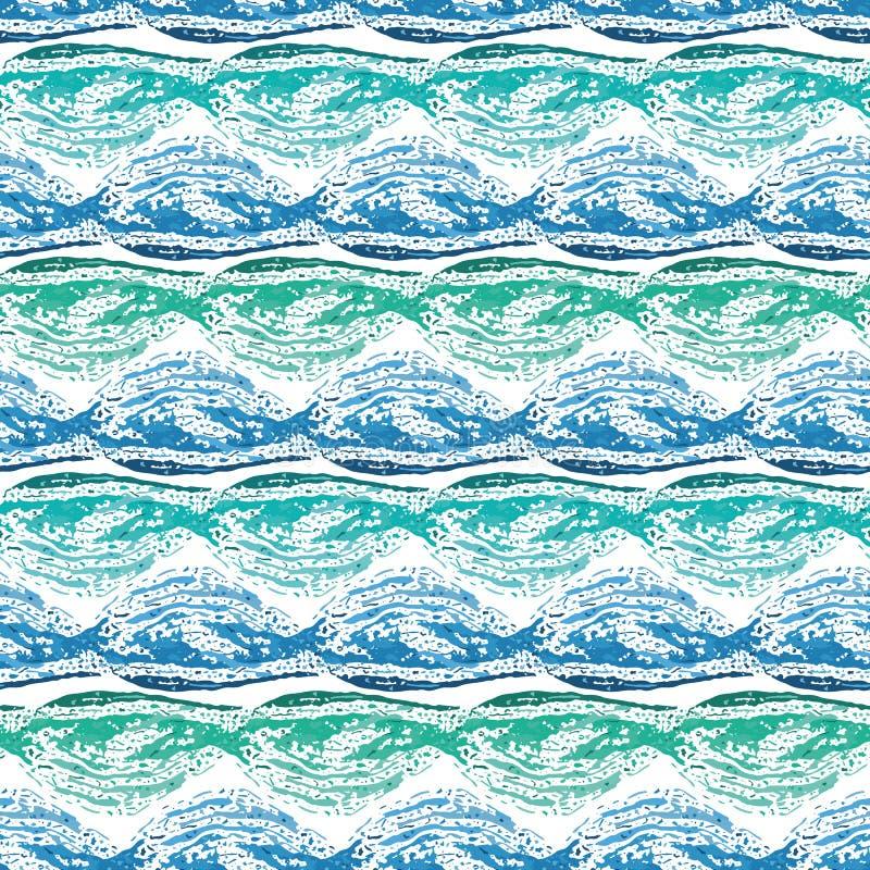 För blått-, kricka- och turkosvåg för abstrakt hand utdragen design Sömlös geometrisk vektormodell på ny vit bakgrund stock illustrationer
