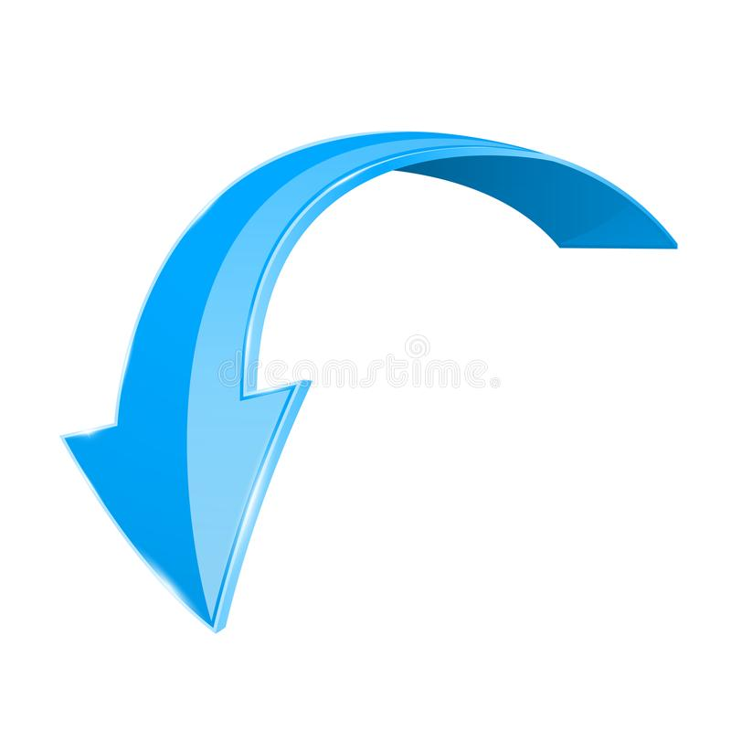 För blått pil 3d ner Skinande krökt symbol som isoleras på vit bakgrund royaltyfri illustrationer