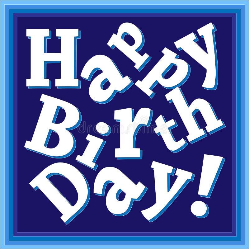 För blåtthälsning för lycklig födelsedag kort för pojkar, bruten trycktext, fyrkant royaltyfri illustrationer