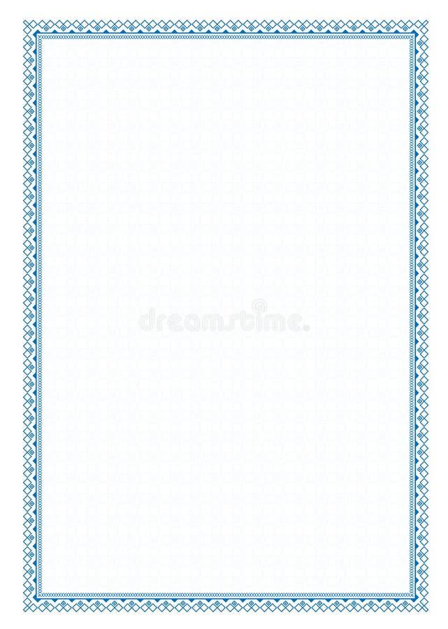 För blåttram för vektor enkel gräns med det skyddande ingreppet för diplomet, certifikat stock illustrationer