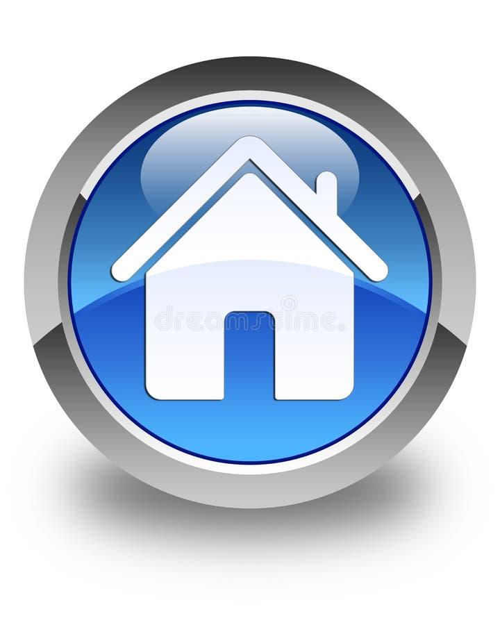 För blåttrunda för hem- symbol glansig knapp stock illustrationer