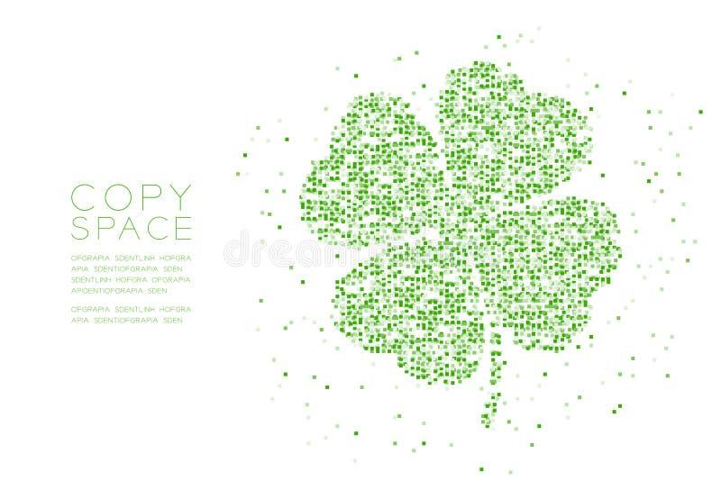 För bladform för växt av släktet Trifolium 4 illustration för grön färg för modell för PIXEL för fyrkantig ask för partikel geome royaltyfri illustrationer