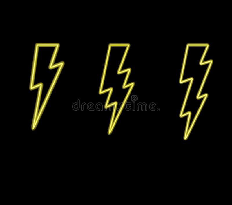 För blixtbultar för varmt neon glödande vektor Åskviggsymbol Prålig symbolillustration Tända uppsättningen Elektricitet på svart  stock illustrationer