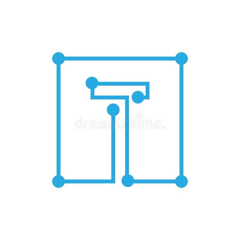 För blockchainlogo för initial bokstav T slaglängd för översikt för fyrkant royaltyfri illustrationer
