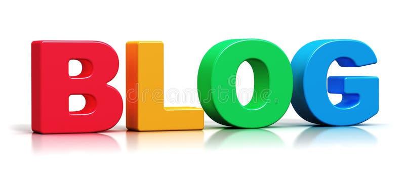 För bloggord för färg 3D text royaltyfri illustrationer